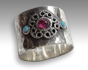 Wide band, boho jewelry, silver ring, birthstone ring, turquoise ring, stone ring, garnet ring, statement ring - Just the two of us R2050