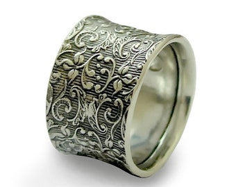 Silver wedding Ring, gypsy ring, Filigree Ring, Unisex Silver Ring, Wide Band, Vine Ring, bohemian ring, unique - Our life together R1209S