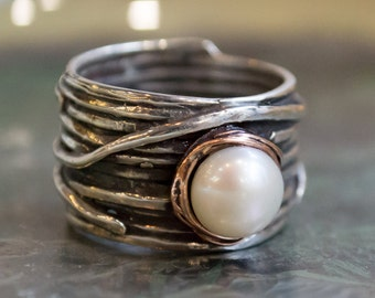 Pearl ring, Silver gold ring, engagement ring, Gypsy ring, bohemian ring, alternative ring, two tones ring - Imagine life in peace 2 R1505G