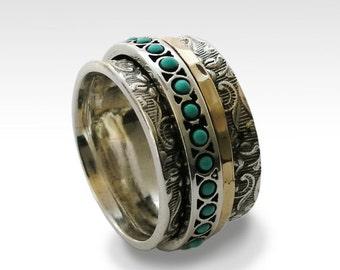 Turquoise ring, fidget ring, Meditation ring, Silver wedding ring, spinner ring for women, wide wedding ring - Edge of the World R1209G