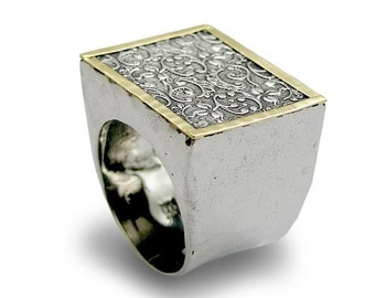Sterling silver ring, silver gold ring, filigree ring, big square ring, statement ring, cocktail ring, woodland ring - Revolving doors R1626