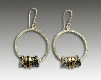 Sterling Silver Earrings, Gold Spinner Earrings, Circle Earrings, Round Silver Earrings, Hammered Earrings, Filigree - Deep in love E2180
