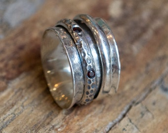 Silver wedding band, garnets ring, meditation ring, spinners band, gypsy ring, boho chic ring, wide silver band  - One special day R2079