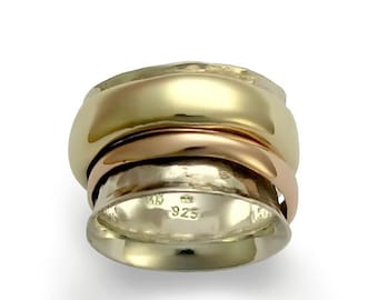 Gold Wedding Band, Spinning Ring, Silver Gold Ring, Rose Gold band, boho ring, modern ring, unisex ring, thumb - Wonderland forever R1026A