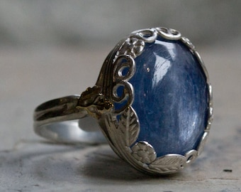 Kynite ring ,Sterling silver ring, silver gold ring, statement ring, gemstone ring, two tone ring, Floral ring, Crown ring - Spiritual R2106
