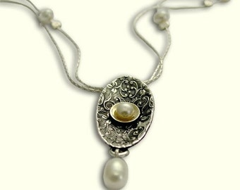Sterling silver necklace, silver gold necklace, fresh water pearl necklace,  pearl pendant, gypsy filigree pendant - Confession N4531G