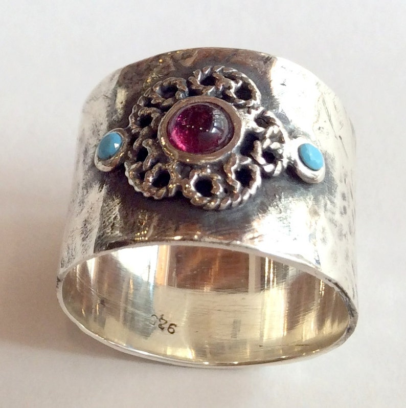 Sterling silver ring Just the two of us R2050 unique silver ring for her Gypsy ring garnet ring Boho ring turquoise ring flower ring