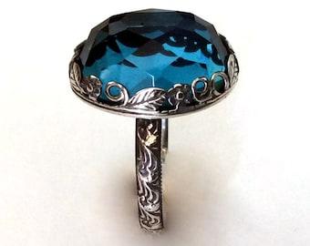 London topaz ring, cocktail ring, Gemstone ring, Silver ring, statement ring, floral ring, crown ring, birthstone ring - Seduction R2149
