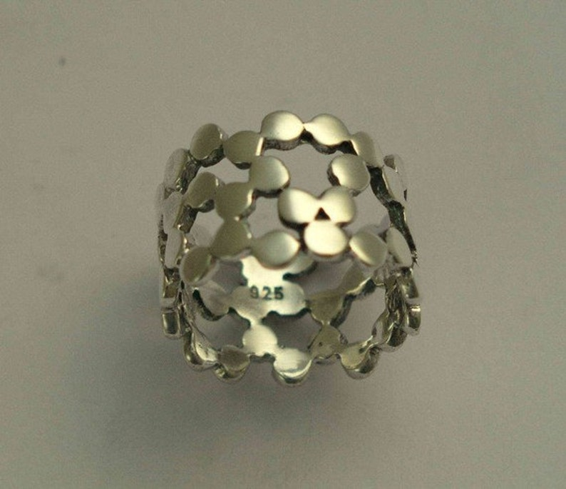 wide ring dots ring Silver wedding ring Yet to discover R1176G silver gold band two tone ring modern ring simple wedding band