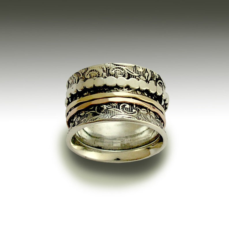 Stacking Ring Sterling Silver Band Shine R1209H Woodland Band Silver Gold Band Stacking Spinners Ring bohemian jewelry TwoTone Ring