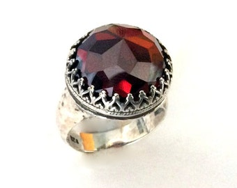 Bohemian jewelry, garnet ring, gemstone ring, crown ring, sterling silver ring, statement ring, cocktail ring - Point of imagination R2190