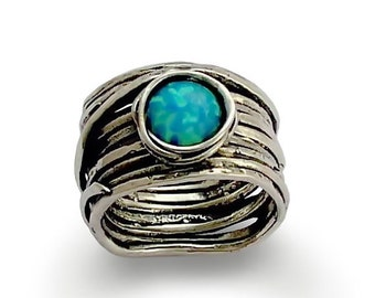 Blue opal ring, Cocktail ring, sterling silver ring, stone ring, wrap around ring, gemstone ring,  wide band - Imagine life in peace 3 R1505