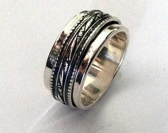 Silver Wedding band, Sterling Silver band, unisex band, boho Spinner ring, meditation ring, wedding ring, filigree band - Affection R2147