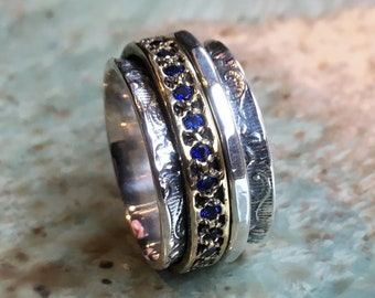 Sapphires ring, Spinners ring, Wide Silver band, brass silver ring, boho ring, spinning ring, wide wedding band  - Edge of the World R1209KS