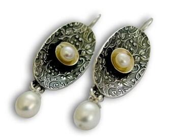 sterling silver earrings, silver gold earrings, fresh water pearl earrings, drop earrings, dangle earrings, filigree - Confession E2104G