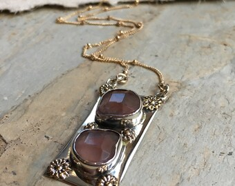 Gemstone necklace, Silver gold necklace, cherry quartz pendant, simple necklace, two tones pendant, boho chic necklace - New moon N2036