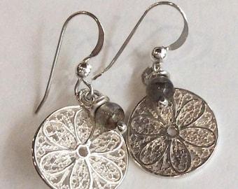 Sterling silver earrings, silver stone earrings, labradorite earrings, gemstone earrings, simple earrings, filigree - Into your heart E8001