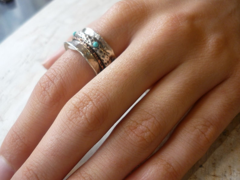 silver gold band Spinner ring turquoise ring yellow gold band Stacking rings two tones ring On the edge R1355 Sterling silver ring