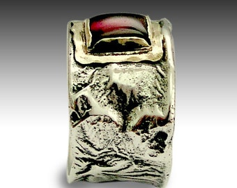 Garnet ring, Sterling silver ring, Mens ring, boho gemstone ring, silver gold ring, stone ring, wide band, gemstone band - Real R1076C