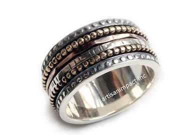 Silver wedding band, meditation ring, boho silver ring, stacking bands, spinner ring, wedding band,  unisex ring, unisex band - Jazz. R2095