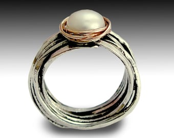 Engagement Pearl Ring, Sterling Silver Ring, Two tones Ring, Rose Gold Ring, Pearl Ring, Statement Ring - Imagine life in peace R1504BG1
