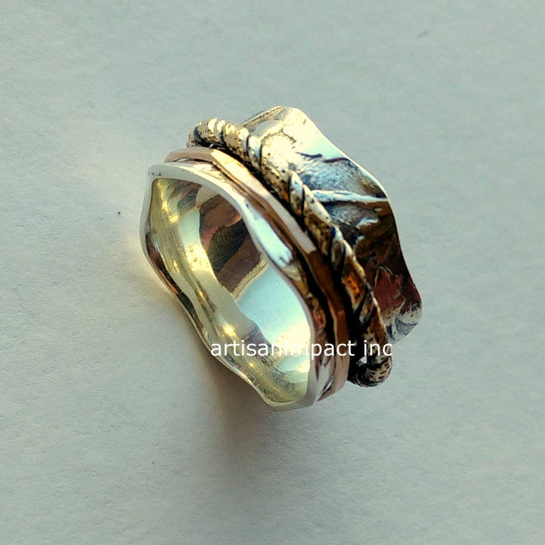 vine band wave band wedding band Silver wedding band botanical statement ring Crossing ways R2092 two tones band silver gold ring