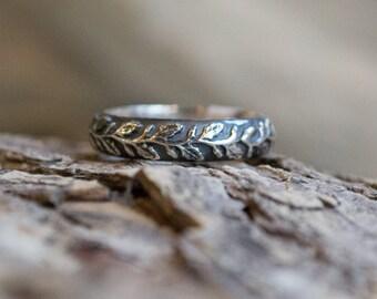 Stacking ring, vine ring, Unisex ring, wedding band, wedding band, Botanical ring, silver ring, leaf ring, nature ring - Waves of love R2152
