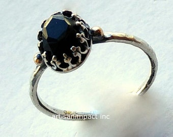Silver gold Ring, Sterling Silver Ring, onyx ring, Gemstone Ring, Stone Ring, solitaire Ring, engagement Ring, crown ring - Desired R2125