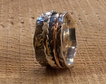 Spinner ring, Two tone ring, gold silver ring, stacking ring, rose gold ring, wide silver band, leaf ring, silver band - Cozy Fall R2302