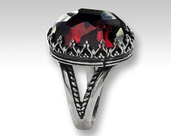Crown Garnet ring, Gemstone ring, Silver ring, statement ring, cocktail ring, boho ring, crown ring, birthstone ring - My first love R2058