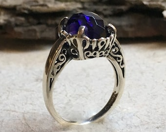 Amethyst ring, Unique engagement ring for her, gypsy ring, infinity ring, Silver amethyst ring, boho ring, stone ring - Precious hours R2387