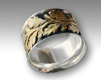Sterling silver ring, two tones ring, vine ring, gold silver ring, wide silver band, leaves ring, leaf band, two tone ring - Connected R2093