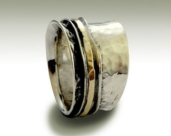 silver gold ring, spinner ring, Wedding band, Silver band, unisex band, meditation band, hammered silver ring - Stay on your mind R1026GB
