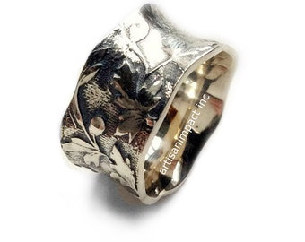 Sterling silver band, leaves ring, Wedding band, vine ring, unisex band, silver leaf band, botanical band, wavy leaf ring - I'm around R2124