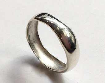 Unisex Wedding ring, stacking ring, boho ring, silver ring, organic ring, hippie ring, unique wedding band, simple - All for love R2374