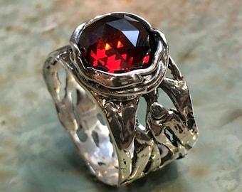 Garnet ring, Silver engagement ring, boho ring, wide silver ring, unique engagement ring for her, gypsy ring, casual - Endless love R2153S