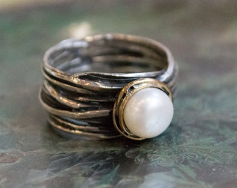 Pearl Ring, Unique Engagement Ring, Sterling Silver Ring, Two tones Ring, silver wedding Ring, wrap Ring - Imagine life in peace R1504BG1