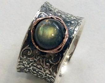Labradorite ring, Sterling Silver Rose gold Ring, Filigree ring, statement ring, bohemian ring, vine ring, wide ring - Our story R2059