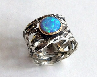 Wide silver band, Sterling silver gold ring, Blue opal ring, gemstone ring, cocktail ring, two tones ring, net ring - That other place R2136