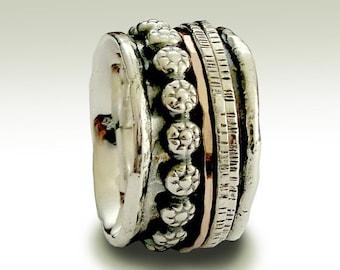 Silver wedding band, meditation band, silver gold ring, stacking ring, boho ring, spinner band , mixed metal ring - Lonely warrior R1075K