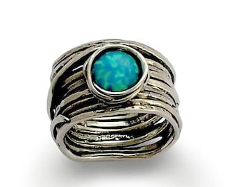 Blue Opal Ring, Wide Sterling Silver Ring, Silver and Opal Ring, Wrapped Silver Ring, Nest ring, rustic ring - Imagine life in peace R1505