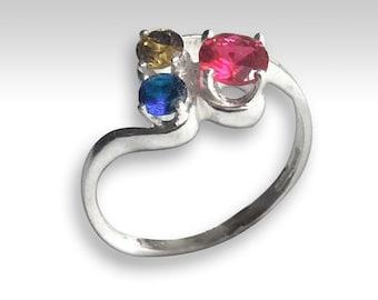 Mothers ring, Family ring, Silver Ring, Birthstones ring, dainty Ring, thin Silver ring, multi stones ring, boho ring - Sweet Joy r2233