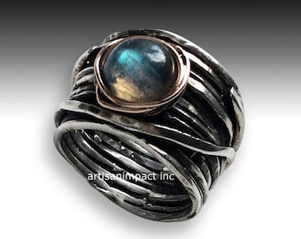 Labradorite ring, twotone ring, Sterling silver ring, wide band, silver band, Boho jewelry, nest ring, wire wrap band - Visions of you R2119
