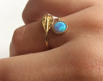 Golden brass ring, adjustable ring, opal ring, Gemstone ring, stack ring, delicate ring, Thin ring, leaf ring - Gone with the wind RK2062-1