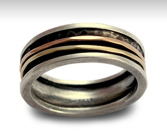 Spinner Ring, Twotone band, fidget wedding band, Unisex Band, Silver Gold Ring, Meditation ring, men women ring - Walk with me R1079B