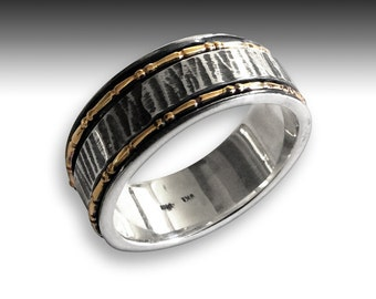 Rustic Mens Wedding band, eternity ring, silver gold ring, infinity ring, spinning ring, boho ring, unique mens band - I Love you R2192