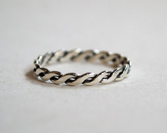 Wedding ring, stacking ring, boho ring, thin ring, dainty ring, silver ring, braided ring, skinny ring, unique band for her - Our Life R2280