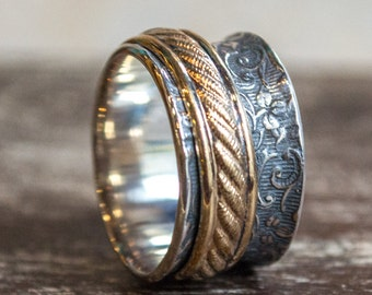 Spinner ring, Boho Band, gypsy Ring, Silver Gold Band, Eternity ring, Infinity ring, Stacking Ring, wedding Band, vine ring - Dreams R2266