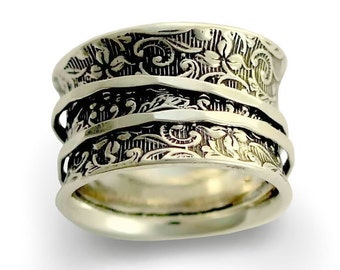 Silver Wedding Band, spinning ring, wide silver band, gypsy ring, boho ring, hippie ring, simple ring, flower ring - A way of life 2 R1209AS