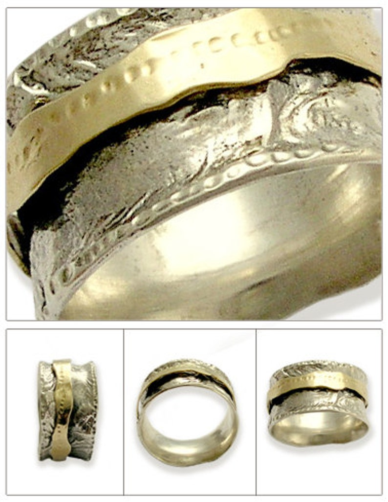 anxiety Ring Silver gold Wedding Band fidget ring Wide silver ring Spinning Ring hammered Band unisex Wedding ring Let it be R1360C